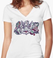 Vampire Bat - Blue&Red Women's Fitted V-Neck T-Shirt