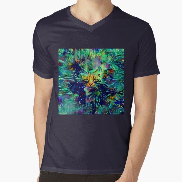 Deep Style Cat V-Neck T-Shirt