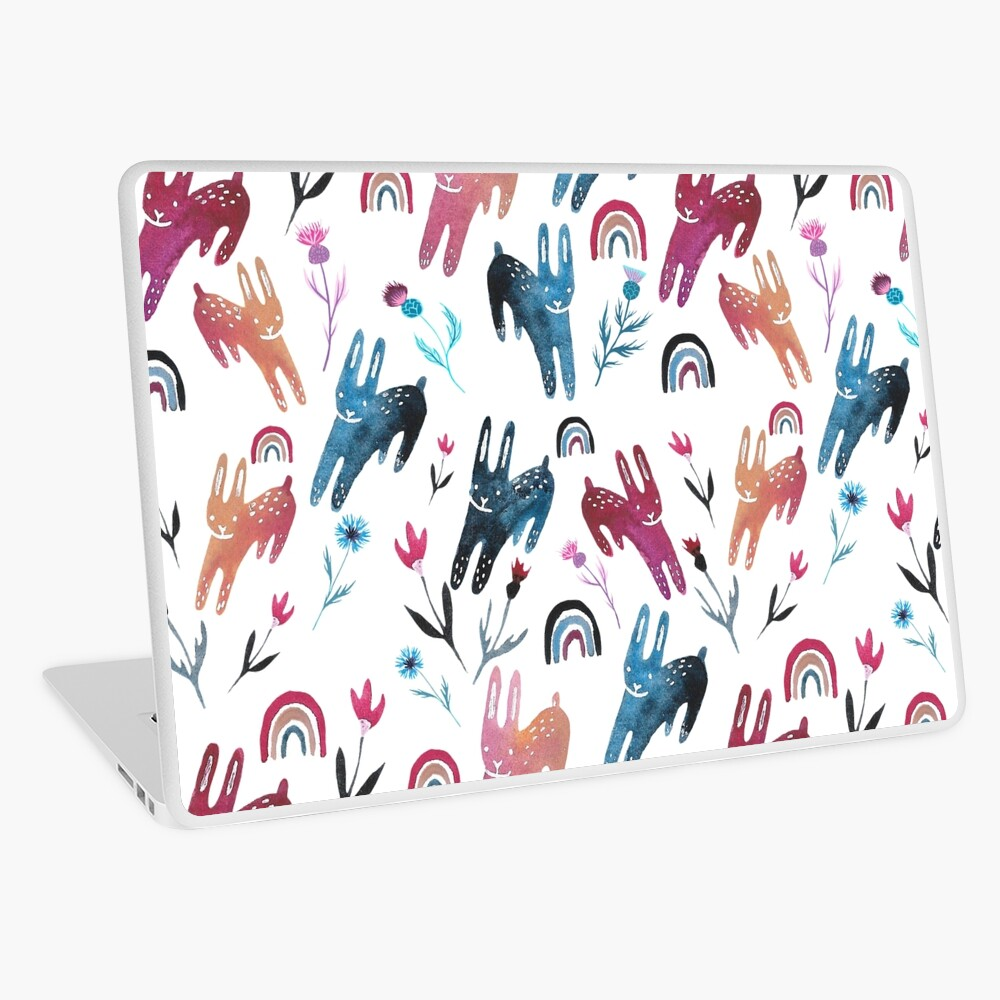 Rainbow Bunnies and florals Laptop Skin