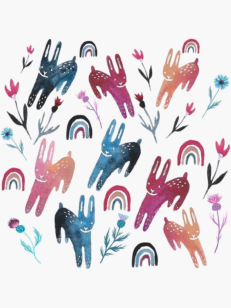 Rainbow Bunnies and florals by emilienunez