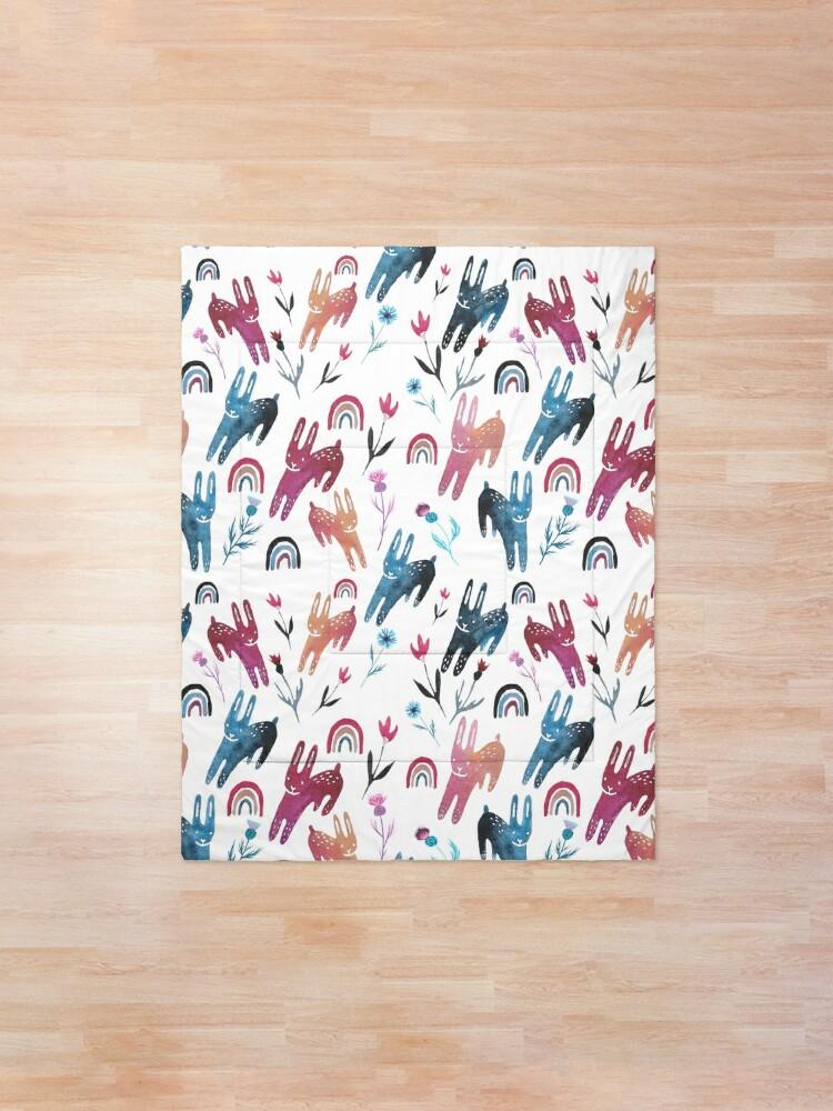 Alternate view of Rainbow Bunnies and florals Comforter