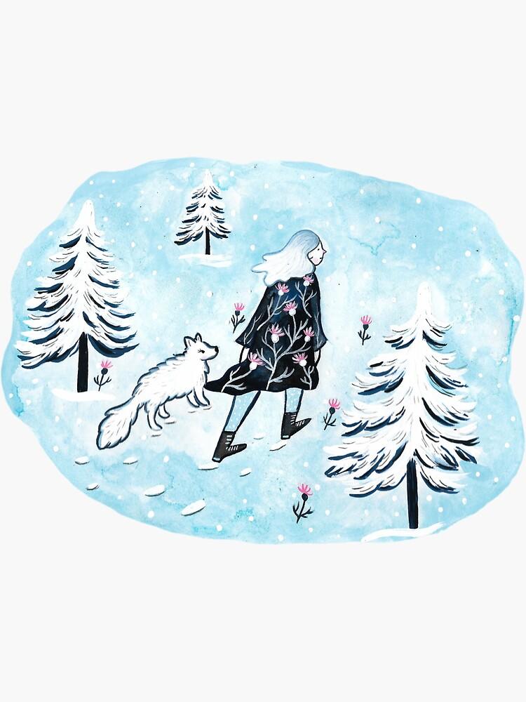 Arctic Lady and Fox by emilienunez