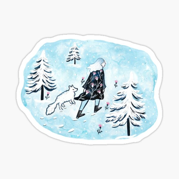 Arctic Lady und Fox Sticker