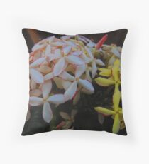 Creation in white and yellow and a little bit of pink and red - three days later Throw Pillow