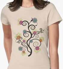 Swirly Flower Tree Women's Fitted T-Shirt
