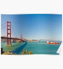 Golden Gate Bridge on a bright clear blue sky day Poster