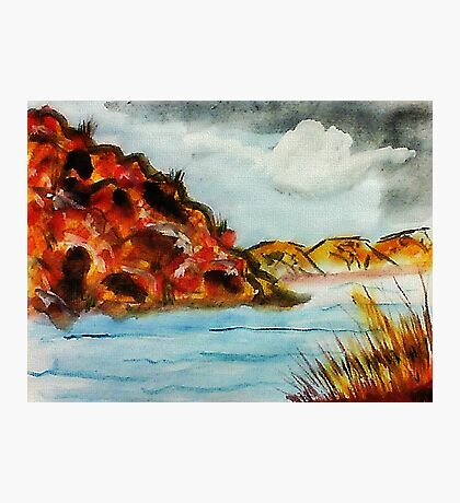 A nice place to go rafting, watercolor Photographic Print