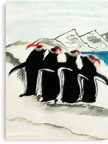 Holiday Penguin, watercolor by Anna  Lewis, blind artist