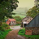 Misty fields and farm outbuildings by moor2sea