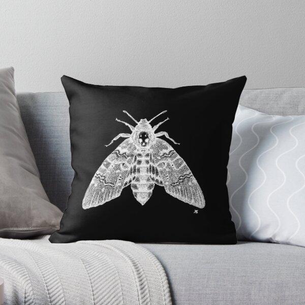 Dotwork Death's-head Hawk-moth (White) Throw Pillow