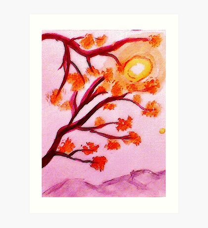 Cherry tree blooms,  watercolor Art Print