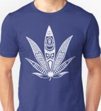 Camiseta unisex blanco ganja psicodélica