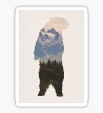 Bear with woodland scene Sticker