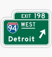 Detroit, MI Road Sign Sticker