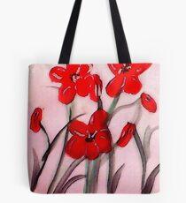 Red flowers, (bamboo brush),  watercolor Tote Bag