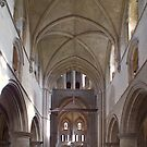 Nave & East End, interior of St Cross Church, Winchester, southern England by Philip Mitchell