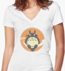 My Neighbour Totoro Women's Fitted V-Neck T-Shirt