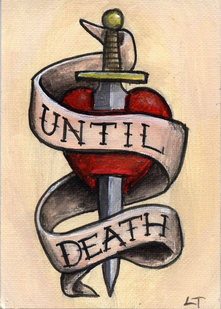 until death dagger and heart tattoo design art card by lee twigger redbubble. Black Bedroom Furniture Sets. Home Design Ideas