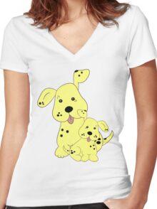Spotty Dog .. tee shirt Women's Fitted V-Neck T-Shirt