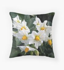 Blossoms White And Yellow Garden Blossoms Throw Pillow