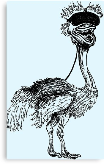 'Virtual Reality Ostrich' Canvas Print by pikahfi