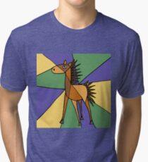 Funny Folk Art Colorful Horse Original Art Tri-blend T-Shirt