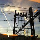 Pylon on the railway. by Jean-Luc Rollier