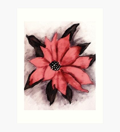 Pink Poinsetta, Watercolor Art Print