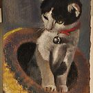 """Original Pastel Painting """"Cat in the Hat"""" by MBurton by Magaly Burton"""