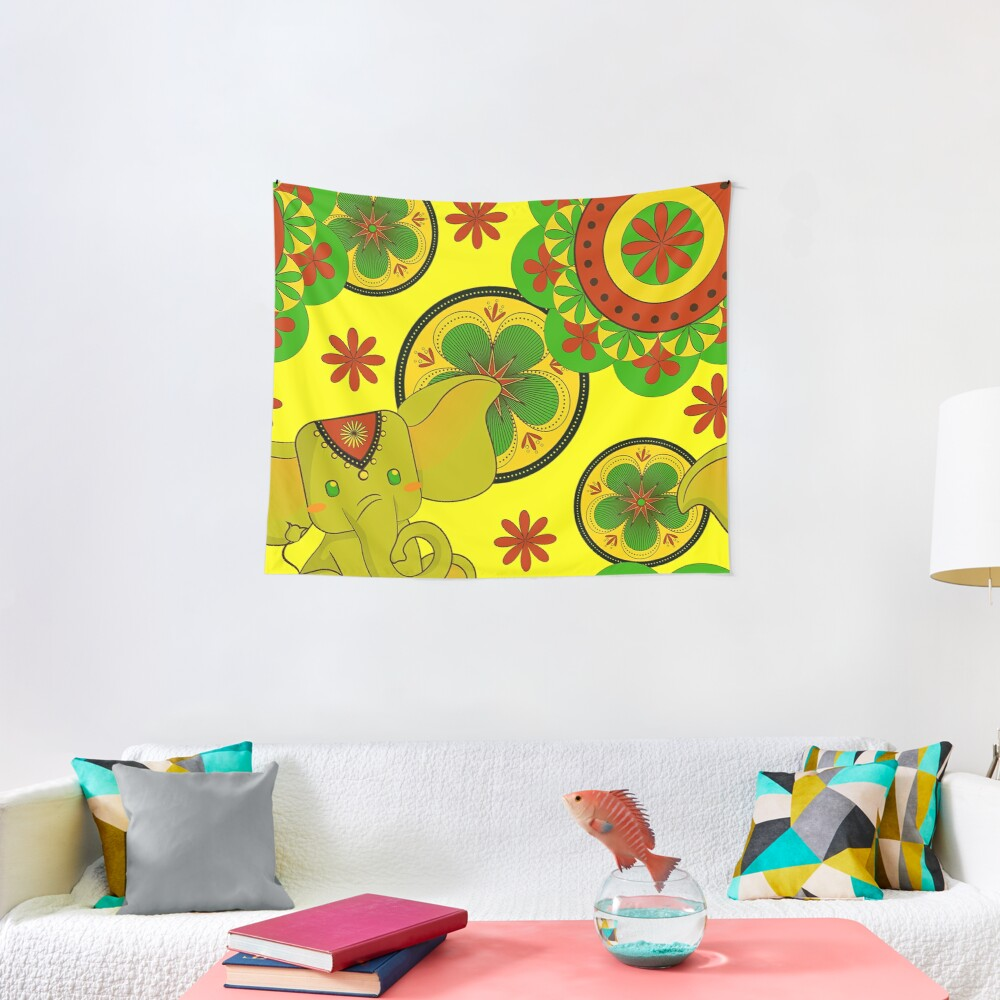 Spring Elephants and Flowers Garden Tapestry | animal print wall decor