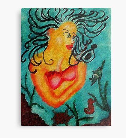 Mermaid #2, watercolor Metal Print
