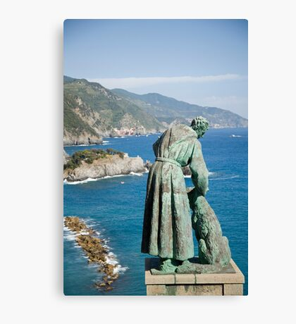 Statue of Saint Francis of Assisi petting a dog Canvas Print