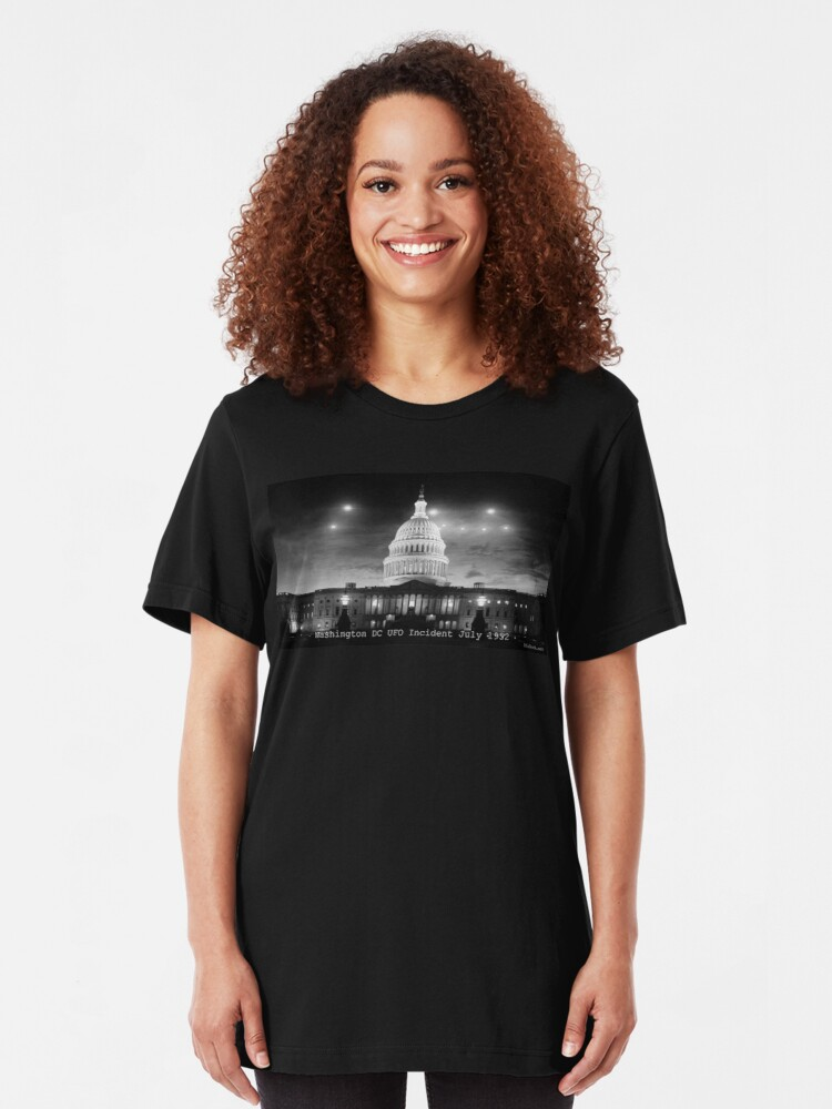 Alternate view of Washington DC UFO Flap Slim Fit T-Shirt