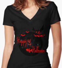happy halloween horror fantasy vector art Women's Fitted V-Neck T-Shirt