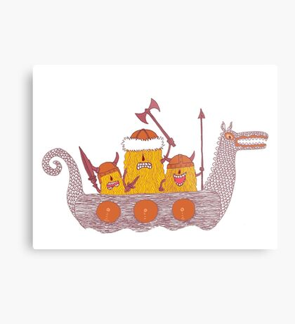 Viking Party Animals in a  Dragon Boat Metal Print