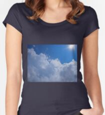 Dark clouds, blue sky and bright sun Women's Fitted Scoop T-Shirt