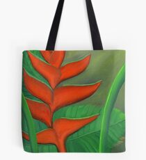 Tropical Beauty: Red and Green Heliconia Tote Bag