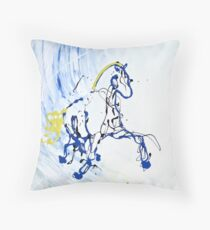 Trot in Blue Throw Pillow