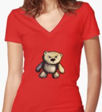 Cute Angry Bear Women's Fitted V-Neck T-Shirt