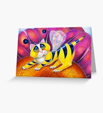 Bee I Kitty, surrealism  cat by Alma Lee Greeting Card