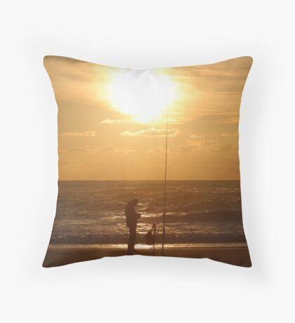 Fishing at Sunset II Throw Pillow