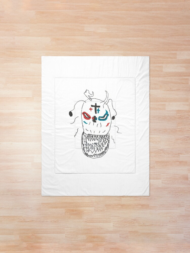 Alternate view of Minimalist Monster with Gnashing Teeth Comforter