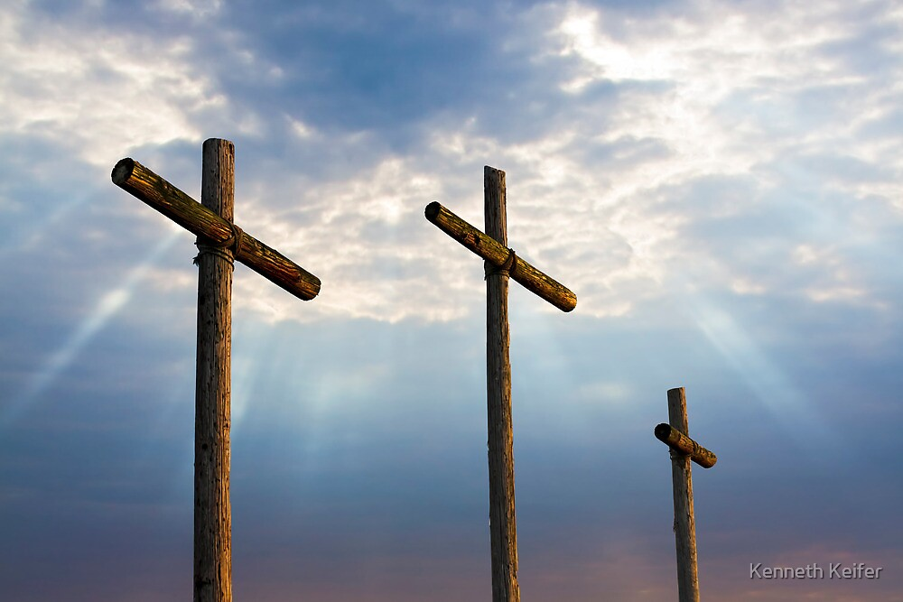 Three Wooden Crosses and Glorious Sky by Kenneth Keifer