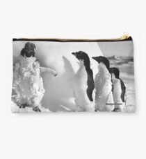 Ice cased Adelie penguins after a blizzard at Cape Denison Studio Pouch