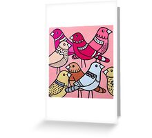 Colourful birds in pink Greeting Card