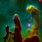 Colorful Pillars Of Creation Deep Space  by artonwear