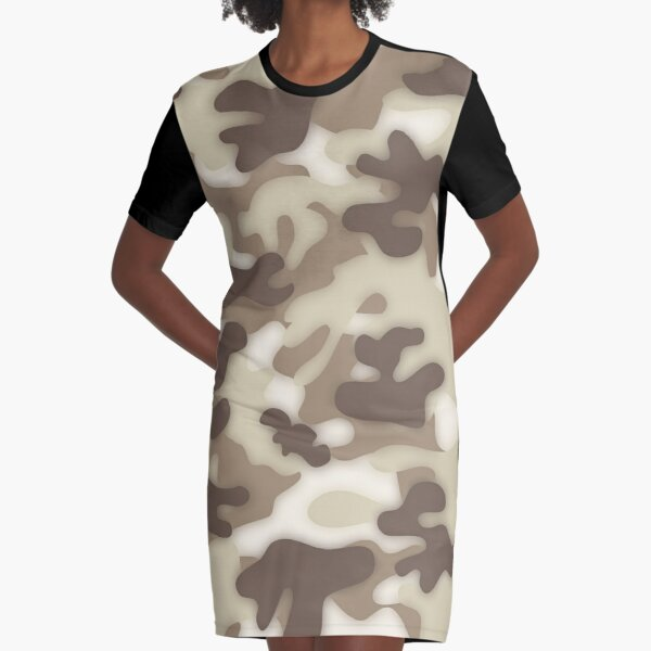 Dreamy Soft Brown Camouflage Graphic T-Shirt Dress