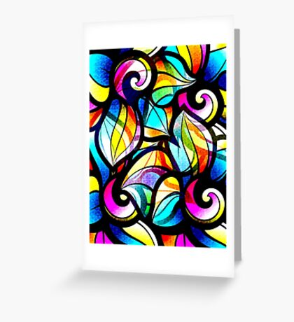 Colorful Stained Glas Like Abstract Swirls Greeting Card