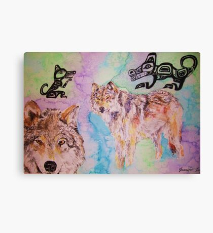 Tribal Wolves Canvas Print