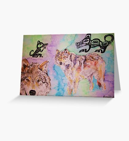 Tribal Wolves Greeting Card